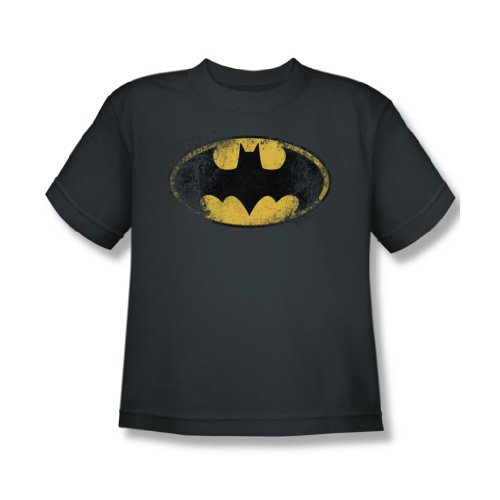 Batman - Zerstörte Jugend Logo T-Shirt in der Holzkohle, Small (6-8), Charcoal (Batman-logo-jugend-t-shirt)