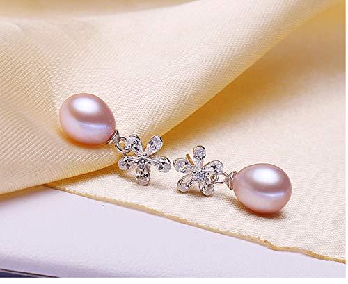 MTWTM Perle Silber Ohrringe Ohrstecker Ohrhänger Damenschmuck Einfachheit Fashion Blumen Temperament High-Grade Eleganz Persönlichkeit Retro Kreativität Exquisite Süßwasser Perlen, Silber Lila