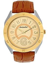 Armbandsur Analog golden dial golden & silver case round Watch-ABS0016MBG