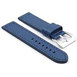 StrapsCo Blue Thick Carbon Fiber Style Watch Band size 22mm