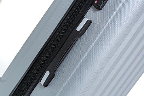 TSA-Schloß 2080 Hangepäck Zwillingsrollen neu Reisekoffer Koffer Trolley Hartschale XL-L-M(Boardcase) in 12 Farben (Silber, M) - 4