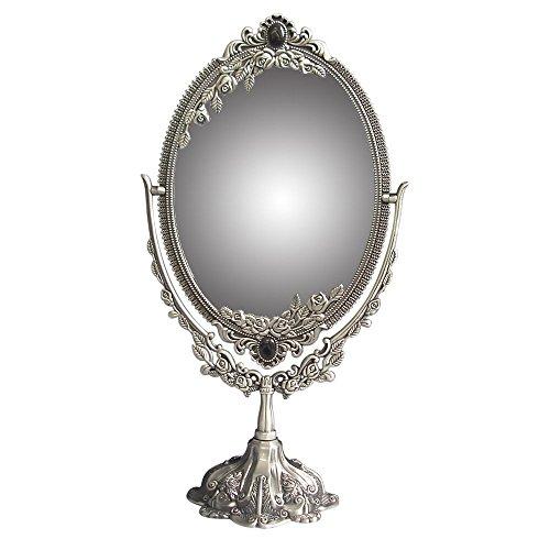 KINGFOM Drehenden Kreisförmigen Doppelseitiger Kosmetikspiegel (Groß), Antique Pewter