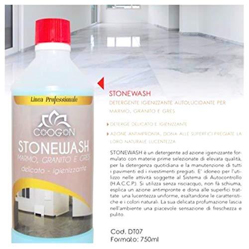 STONEWASH - CHOGAN, Detersivo, Detergente Igienizzante Pavimenti, Autolucidante, Per Marmo, Granito, Gres, Cotto, Porcellanato Ecc. (750 ML) Casa e Pavimenti Puliti