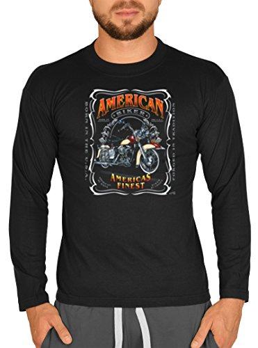 Langarm Herren T-Shirt USA Biker Motiv American Biker Bike Langarmshirt für  Biker Rock Longshirt