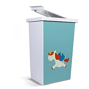 Banjado poubelle corbeille à papier design 42 litres avec motif petite licorne
