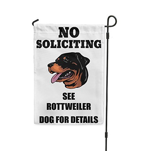 Carerfeme Metal Aluminum Sign Decor No Soliciting See Rottweiler Dog for Details Yard Patio House Banner Garden Flag Flag Only (8 X 12 Inches) -