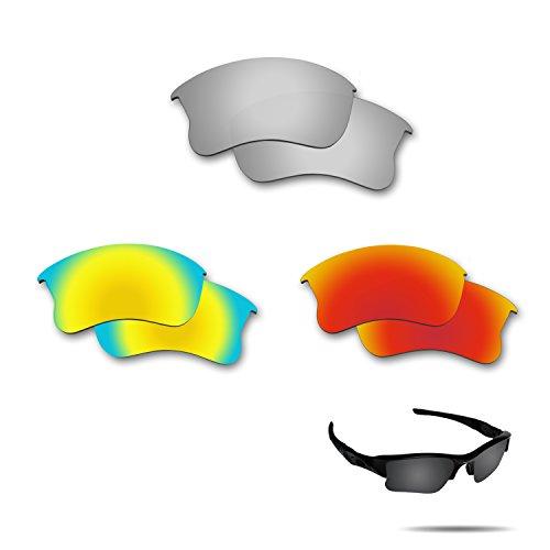 fiskr anti-saltwater Polarisierte Ersatz-Gläser für Oakley Flak Jacket XLJ 3Paar Pack, Metallic Silver & Fire Red & 24K Gold