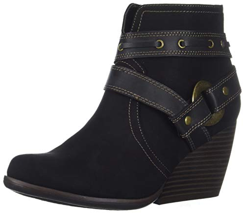 Sugar Damen HUMS Womens Casual Belted Wedge Heel Ankle Boot Stiefelette, Black Fabric, 39 EU -