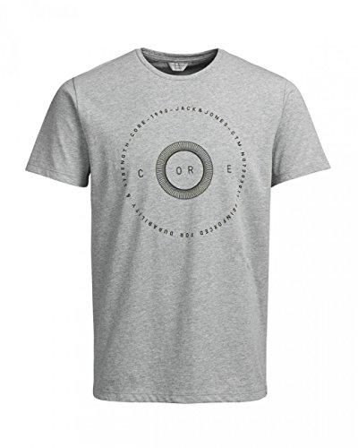 Jack & Jones Herren Rundhals T-Shirt JCOLINER - Slim Fit Grau (Light Grey Melange)