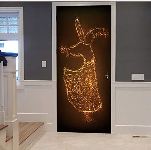WHXJ Aufkleber Der Tür 3D, Der Das Erstellen des Aufklebers Selbstklebende Aufkleber Auf Den Türen wasserdichte Aufkleber-Tür-Wand-Tapete 200X77Cm Feiert