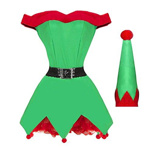 wildeal Erwachsene Weihnachtself Fancy Kleid Uniform-Set Frauen Damen Kostüm Anzug Weihnachts Santas Helper Outfit Cosplay Kostüme, M