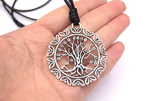 ETHNICFEATHER - ETHNICFEATHER-TREE LIFE Anhänger Halskette, verstellbare Kordel, silberner Metallanhänger -