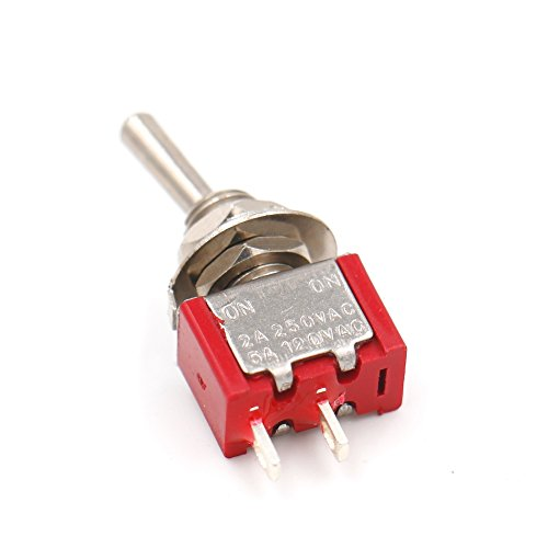 Heschen Miniatur-Kippschalter MTS-101 ON-ON SPDT 2-polig, 2A 250V, 5A 120V, UR gelistet 5 Stück -
