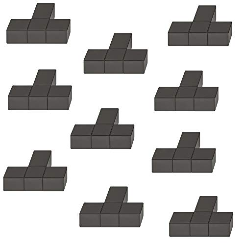 Gedotec Design Möbelknopf schwarz matt eloxiert Schrank-Knopf Vintage für Schubladen - H1945 | edler Türknopf eckig | Kommoden-Knopf Küche quadratisch | 10 Stück - Möbel-Knauf Aluminium mit Schrauben -