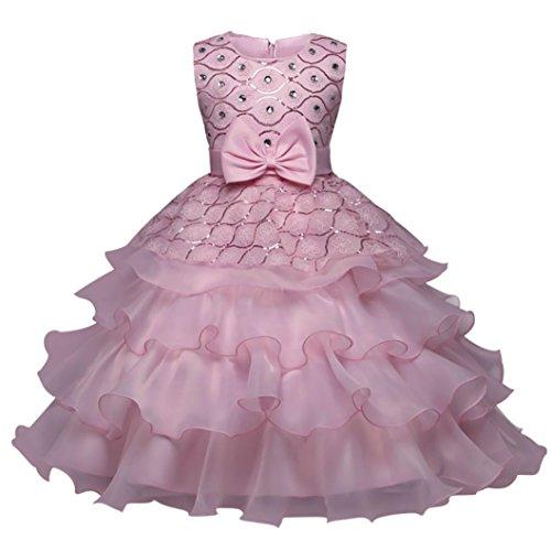 ❤️Kobay Blumen-Baby-Mädchen-Prinzessin Bridesmaid Festzug-Kleid-Geburtstags-Party-Hochzeits-Kleid (110/3Jahr, Rosa)