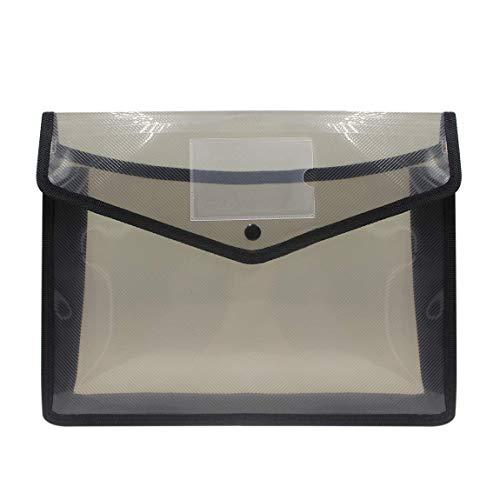 Ausziehbare Polymer-Ordner, Kunststoff-Umschlag, Taschenflöter, Papier, Aufbewahrung, Dokumentenmappe mit 7,1 cm Erweiterung, Visitenkartenhalter, Schnappverschluss, durchscheinende Farbe schwarz