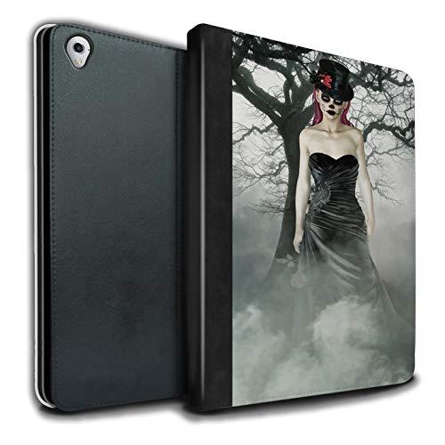 Stuff4® PU-Leder Hülle/Case/Brieftasche für Apple iPad Pro 9.7 Tablet/Schwarzes Kleid Frau Muster/Tag Der Toten Festival Kollektion