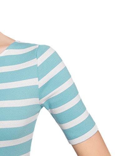 oodji Ultra Damen Enganliegendes Geripptes Kleid Blau (7010S)