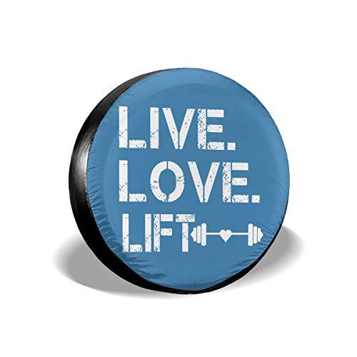 AngShen Live Love Lift Ersatzreifenabdeckung für Wrangler Jeep Anhänger Wohnmobil SUV LKW Wohnmobil Reifenanhänger (35,6 cm / 15,16 cm / 17 Zoll), Polyester, weiß, 35, 6 cm