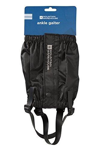 Mountain Warehouse Knöchelgamaschen - Wasserfeste Wandergamaschen, sicherer Frontverschluss, verstellbare Riemen, Stiefelhaken - Ideal für Wandern, Bergwandern, Camping Schwarz Medium/Large