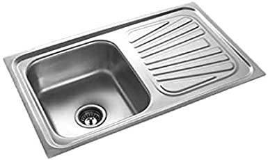 SS Sink 37x18x8 with Drain Board Kitchen Sink with Waste Coupling