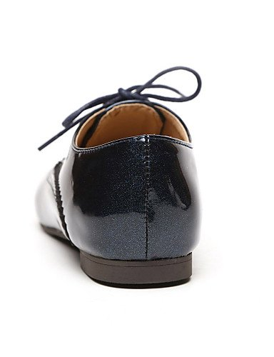 ZQ Scarpe Donna - Stringate - Formale - Tacchi / A punta - Quadrato - Finta pelle - Nero / Blu / Bianco , black-us6 / eu36 / uk4 / cn36 , black-us6 / eu36 / uk4 / cn36 blue-us6 / eu36 / uk4 / cn36