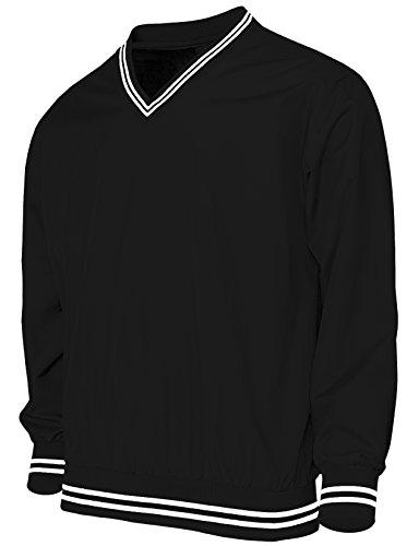 BCPOLO M?nner Casual Windbreaker mit V-Ausschnitt Kragen Windshirt Langarm-Sportbekleidung-black XL (Herren-kurzarm-windshirt)