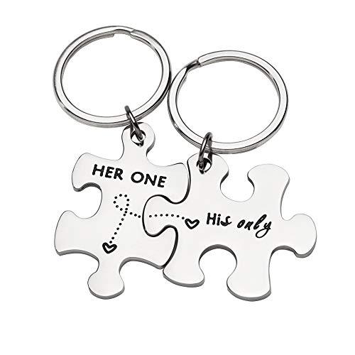 Paar Schlüsselanhänger Geschenke für Mann Frau ihm ihre Puzzle Set von 2Schlüsselanhänger Key Ring Charm Valentinstag Hochzeit Jahrestag Christmas Gifts (Sie einer HIS nur) (Und Hochzeit Ihm, Set Ring Ihre)