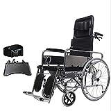 MTX Ltd Senioren, Rollstuhl Faltbarer Leichtgewichts-Rollstuhl, Rollstuhl Mit Toilette, Abnehmbar, Rollstuhl Mit Hohem Griff, Faltbarer Aluminium-Rollstuhl, Behinderte,schwarz,A