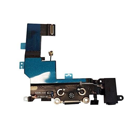 SMARTEX Ladebuchse mit Flex Kabel Kompatibel mit iPhone SE Schwarz – Dock Connector mit integrierten Mikrofon, Homebutton, Lautsprecher Anschluss