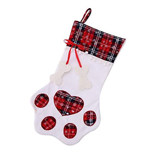 bobo4818 Weihnachten Stuhlhussen Deko, Taschen Haustier Hund Katze Pfote Strumpf Socken Ornamente | Weihnachtsstrumpf Zum BefüLlen (Rot, 28 * 46cm) (Hund Pfoten Kostüm)