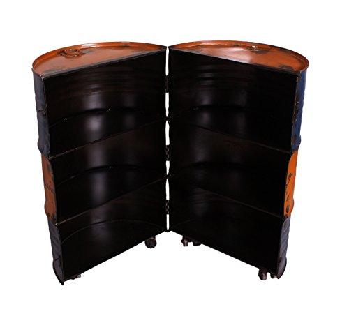 SIT-Möbel Drumline 8223-98 Barschrank auf Rollen, aus alten Ölfässern, Metall blau/gelb, 60 x 60 x 95 cm