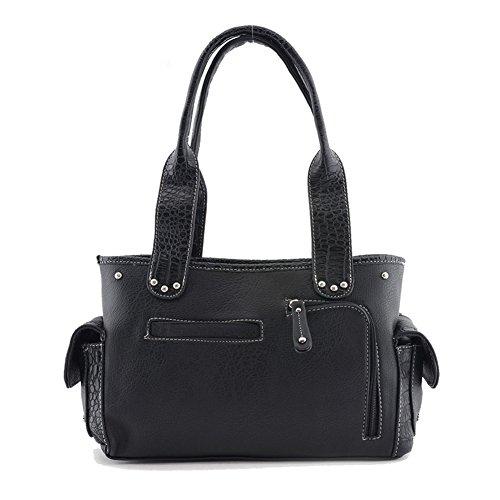 Blancho Bedding Womens [Vest S # 2] Cuoio borsa di modo nappa elegante borsa a spalla Nero Handbag S#2-Black