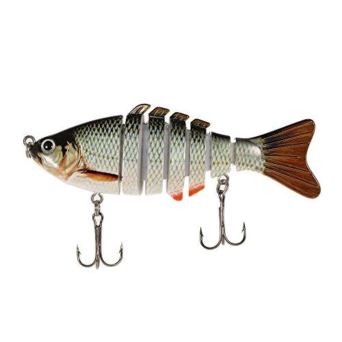 Lixada Hard Fishing Köder mit 2 Treble Haken, 100mm 13g 3.9' 7 Segmente Multi Jointed