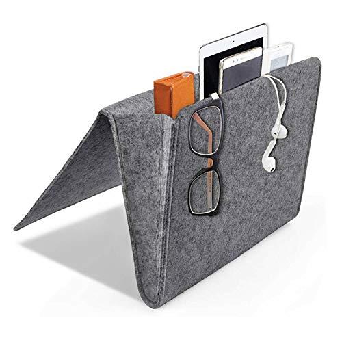 Electronic Pocket Organizer (Daite 0,2 '' Dicke Filz Nachttisch-Canddy Tasche 10,9 * 8,6 * 4,3 '' für Telefon, Fernbedienung, Magzine, Glas, Stift, innen mit 2 kleinen Taschen (dunkelgrau))