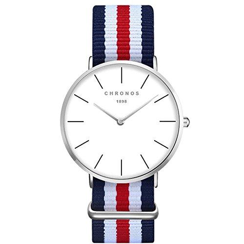 XLORDX Damen Unisex Armbanduhr elegant Quarzuhr Uhr modisch Zeitloses Design klassisch Silber Nylon Blau Rot Weiß