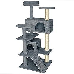 TecTake Rascador Árbol para Gatos Sisal (Gris   No. 401771)