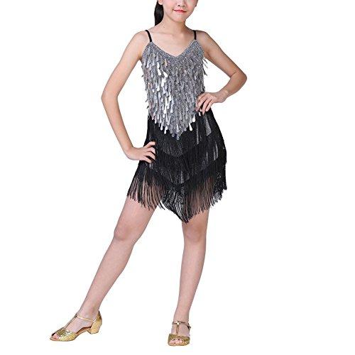 hen Pailletten Latin Dance Kleid Latin Tango Salsa Quaste Rock Latin Kostüm (Salsa Kostüme Für Mädchen)