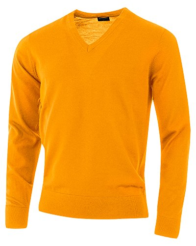 agon - Premium Herren Strick-Pullover, extrafein, 100% Merino-Wolle, V-Ausschnitt Orange 50/M