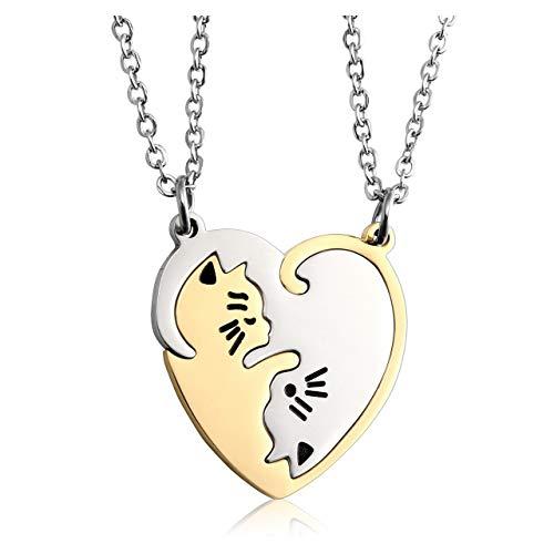 PiercingJ - 2PCS Bijoux Collier Pendentif Puzzle Coeur Separable Detachable Chat Acier Inoxydable Amitié Amoureux Couple avec 2 Chaines