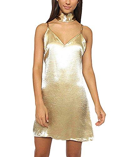 ZANZEA Damen Rückenfrei Verstellbare Spaghetti-Trägern V-Ausschnitt Mini Tanktops Kleid Gold
