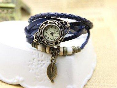 DP 6 Colors Available Women Vintage Bracelet Watch with Leaf Pendant Genuine Cow Leather Quartz Wristwatches