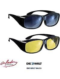 """infactory Überbrille: Schärfer-Sehen-Set mit 2 Überziehbrillen """"Day Vision"""" & """"Night Vision"""" (Sonnen Kontrast Brillen Sets)"""