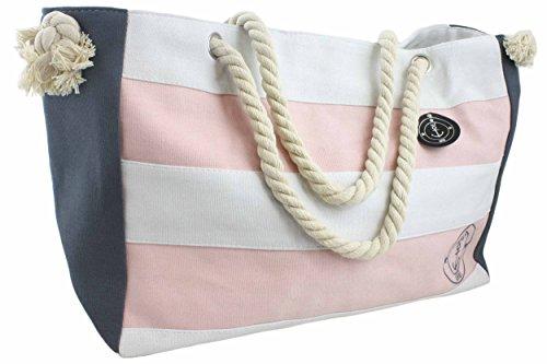 Sonia Originelli Strandtasche grau rosa Anker maritim Shopper T023-rosa