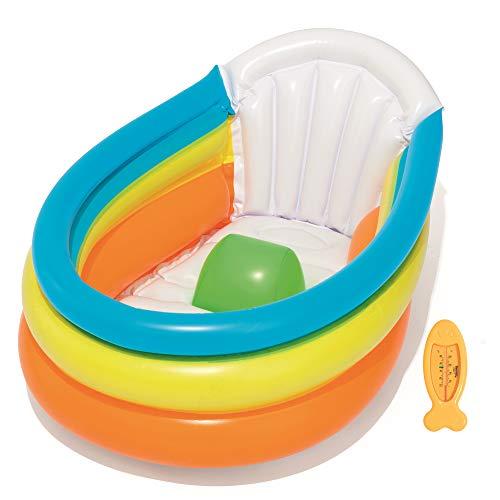 Bestway Up, In & Over Baby Badewanne mit Thermometer, Rückenlehne und aufblasbarem Rippenboden, 76x48x33 cm