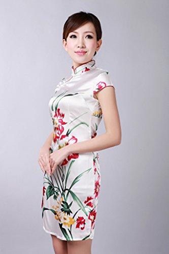 Bigood Cheongsam Femme Robe Courte Style Chinois Motif Fleur Eté Blanc