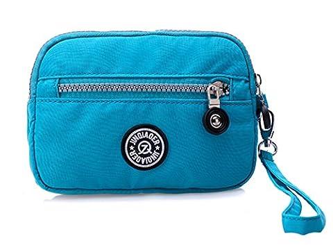 Tiny Chou Dual Layers Zipper Purse Waterproof Nylon Wristlet Bag Clutch Handbag Cell Phone