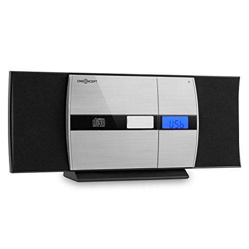 oneConcept V-15-BT Mini Impianto Stereo con lettore CD verticale e bluetooth (radio OUC, ingresso USB e MP3, sveglia, ingresso Aux, telecomando) - nero