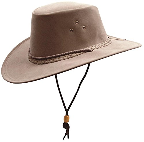 Kakadu Traders Australia Kinder Microfaser-Hut Cowboy-Hut in grau mit Hutfangband, Kinnband und geschwungener Krempe