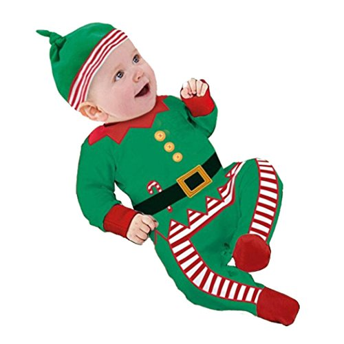Infant Jungen Mädchen Outfits Kleider,Amcool Weihnachten Baby Strampler+ Hat+ 1pcs Spielzeug (0-3 Monate, Grün) (Herren Weihnachts Outfits)